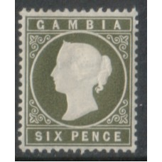 1886 GAMBIA QV 6d olive-green MINT
