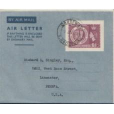 1953 SOUTHERN RHODESIA 6d Cent. Exh. Aerogramme