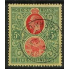 1912 SIERRA LEONE KGV 5s red & green VFU