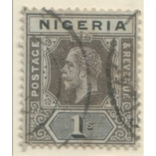 1914 NIGERIA KGV 1s black on olive back VFU