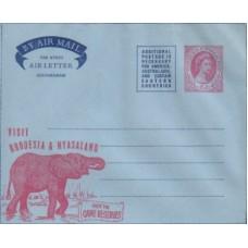1957 RHODESIA & NYASALAND 6d Elephant Aerogramme MINT