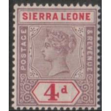1896 SIERRA LEONE QV 4d mauve & carm VF LMM