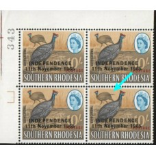 1966 RHODESIA 10sh Feather Flaw bl4 MNH
