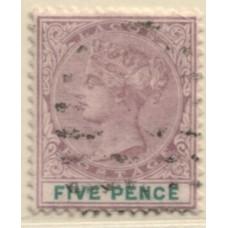 1887 LAGOS QV 5d mauve & grn VFU