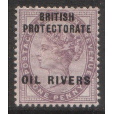 1892 OIL RIVERS QV 1d lilac MINT