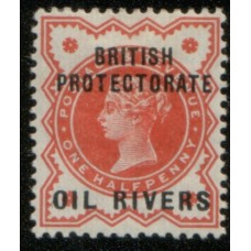 1892 OIL RIVERS QV 1/2d vermilion Mint