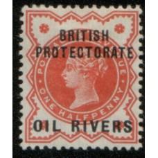 1892 OIL RIVERS QV 1/2d vermilion Mint