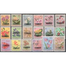 1960 CONGO (Kinsh) FLOWERS set of 18 MNH