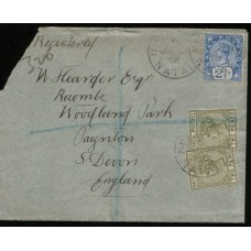 1896 NATAL REGISTERED QV 2-1/2d & 2x 2d Die2 Cover to England FU.