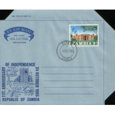 1965 ZAMBIA Aerogramme 1 Year of Independence VFU