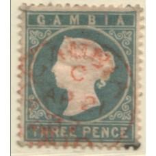 1886 GAMBIA QV 3d slate-grey VFU