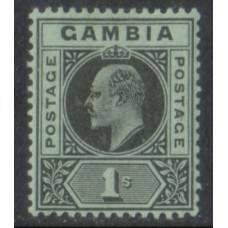1909 GAMBIA KE 1s black on green LMM