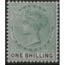 1887 LAGOS QV 1s green & blk VF LMM