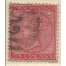 1874 NATAL QV 1d dull rose CC wmk VFU