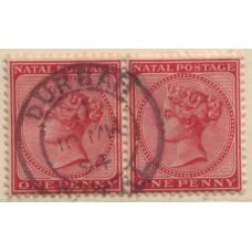 1882 NATAL QV 1d rose pair, fine full pmk VFU