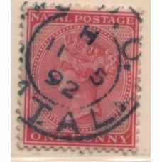 1882 NATAL QV 1d rose, good PMK VFU