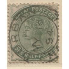 1885 NATAL QV 1/2d dull green full PMK VFU