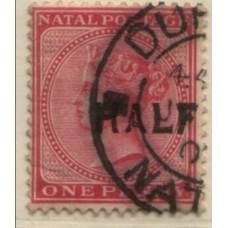 1895 NATAL QV 1/2d on 1d part pmk VFU