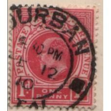 1902 NATAL KE 1d part pmk VFU