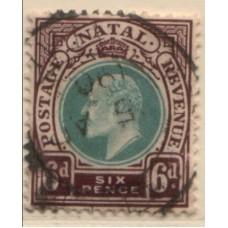 1902 NATAL KE 6d part pmk VFU