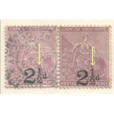 1891 CAPE of GOOD HOPE 2-1/d on 3d Hope ovpt. flaw VFU
