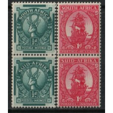 SOUTH AFRICA: 1943 1/2d & 1d Coil pairs x4 MNH