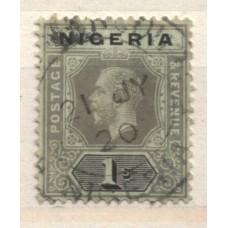 1914 NIGERIA KGV 1sh black on yel-grn, yel-grn back VFU