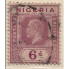 1921 NIGERIA KGV 6d purple Die II VFU