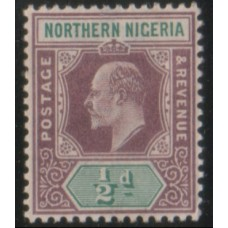 1902 NORTHERN NIGERIA KE 1/2d purple & grn MM