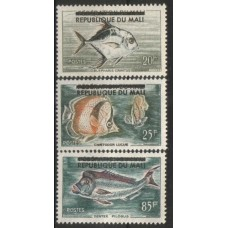 1961 MALI Fish overprint set (85Fr NG) MNH others