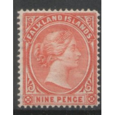 1891 FALKLAND Is.  QV 9d pale reddish orange VF LMM