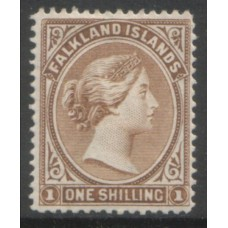 1891 FALKLAND Is.  QV 1shilling grey-brown VF LMM