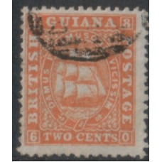 1863 BRITISH GUIANA Schooner 2c orange FU