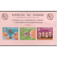1966 ECUADOR 100Y UIT Imperf. MS MNH