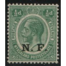 1916 TANGANYIKA NRF KGV 1/2d FM
