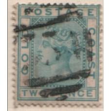 1876 GOLD COAST QV 2d turquise-green Wmk Crown CC FU.