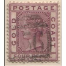 1876 GOLD COAST QV 4d magenta VFU.