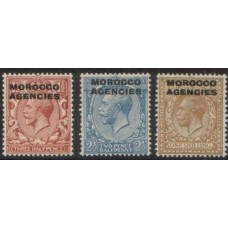1925 MOR-AGENCY British Currency 3 KGV values MNH