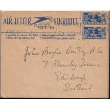 1944 SOUTH AFRICA Aerog. 3D3D Civilian Air Letter Used