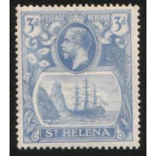 1922 St. HELENA KGV 3d Torn Flag flaw MNH.