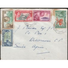 1953 PITCAIRN IS. KGVI Unique Commercial Cover to South Africa cv£14.00