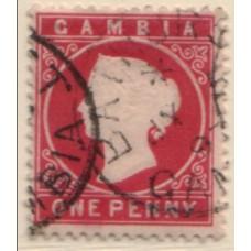 1886 GAMBIA QV 1d pale carmine VFU