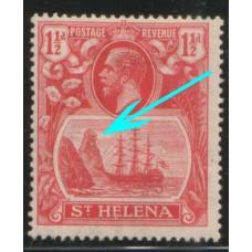 1922 St. HELENA KGV 1-1/2d CLEFT Rock flaw LMM.