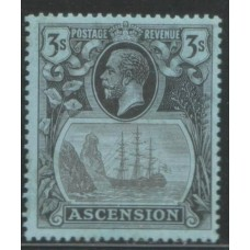 1924 ASCENSION  KGV 3sh unlisted flaw -broken frame line- cv£170.00 ++ VF LMM