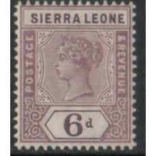 1896 SIERRA LEONE QV 6d mauve VF LMM