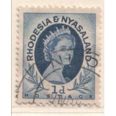 1954 RHODESIA and  NYASALAND QEII 1d coil 1 VFU.