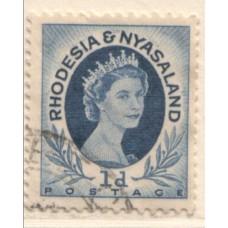 1954 RHODESIA and  NYASALAND QEII 1d coil 2 VFU.