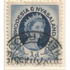 1954 RHODESIA and  NYASALAND QEII 1d coil 4 VFU.