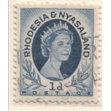 1954 RHODESIA and  NYASALAND QEII 1d coil 5 VFU.