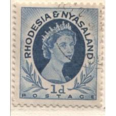 1954 RHODESIA and  NYASALAND QEII 1d coil 6 VFU.